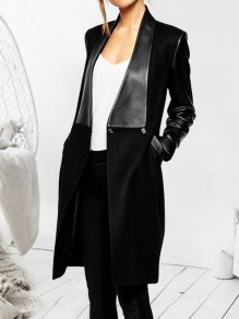 Black Patchwork PU Leather Pockets Turndown Collar Long Sleeve Elegant Coat