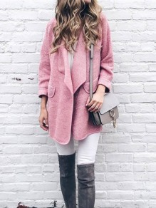 Pink Pockets Turndown Collar Long Sleeve Fashion Oversize Coat