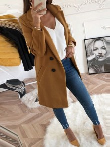 Camel Pockets Buttons Double Breasted Turn Down Collar Long Sleeve Elegant Wool Coat