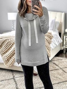 Grey Striped Print Drawstring Cowl Neck Long Sleeve Fashion Maternity Sweatshirt