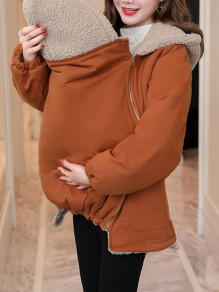 Brown Pockets Zipper Long Sleeve Fashion Baby Bag Maternity Hooded Sweatshirt