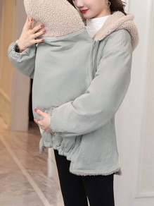 Grey Pockets Zipper Hooded Long Sleeve Fashion Maternity Sweatshirt