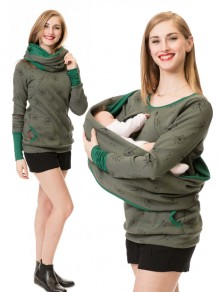 Army Green Floral Pocket Long Sleeve Fashion Pullover Maternity Sweatshirt