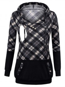 Grey Plaid Pocket Drawstring Hooded Long Sleeve Pullover Maternity Sweatshirt