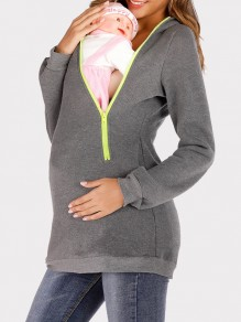 Dark Grey Pockets Zipper Hooded Long Sleeve Multi-Functional Maternity Sweatshirt