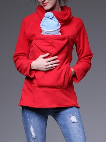 Red Pockets Zipper Hooded Long Sleeve Multi-Functional Maternity Sweatshirt