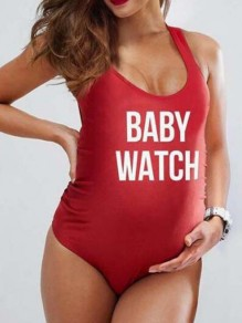 "Red ""BABY WATCH"" Print Bodycon Maternity For Babyshowes Swimwear"