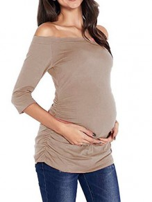 Pink Pleated Ruched Off Shoulder 3/4 Sleeve Pajama Casual Maternity T-Shirt