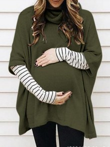 Green Striped Pattern Irregular Dolman Sleeve Gender Reveal Plus Size Maternity T-Shirt