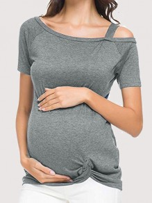 Grey Knot Asymmetric Shoulder Short Sleeve Fashion Maternity T-Shirt