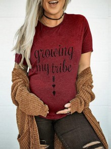 Burgundy Letter Growing My Tribe Pattern Short Sleeve Maternity T-Shirt