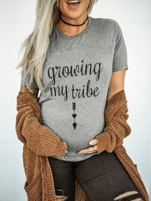 Grey Letter Growing My Tribe Pattern Short Sleeve Maternity T-Shirt