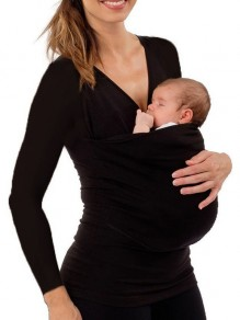 Black Multi-Functional Kangaroo Pockets Baby Bag Carrier Long Sleeve Maternity T-Shirt