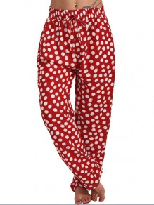 Red Polka Dot Drawstring Plus Size Harem High Waisted Casual Loungewear Lounge Bottoms