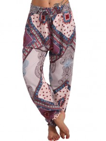 Grey Tribal Print Pockets Plus Size Harem High Waisted Casual Loungewear Lounge Bottoms