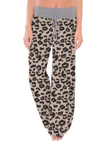 Grauer Leopardenmuster Kordelzug Taille Langes breites Bein Palazzo Pants Lounge Bottoms