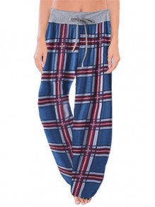 Dunkelblauer Plaid Print Kordelzug Taille Langes breites Bein Palazzo Pants Lounge Bottoms