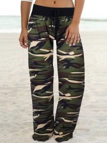 Army Green Camouflage Print Kordelzug Taille Langes breites Bein Palazzo Pants Lounge Bottoms