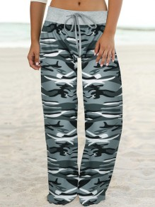Grauer Camouflage Print Kordelzug Taille Langes breites Bein Palazzo Pants Lounge Bottoms