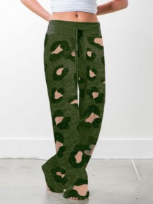 Grüner Leopardenmuster Kordelzug Taille Langes breites Bein Palazzo Pants Lounge Bottoms