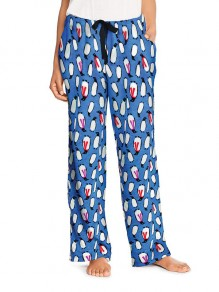 Blue Penguin Print Drawstring Pockets High Waisted Casual Wide Leg Palazzo Loungewear Lounge Bottoms
