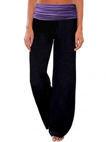 Bas rayé décontracté taille haute jambes larges palazzo yoga track loungewear lounge violet