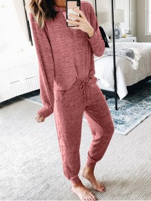 Pink Pockets Two Piece Comfy Long Sleeve Fashion Loungewear Lounge Set
