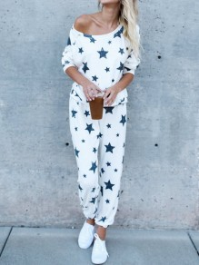 White Star Print Off Shoulder Long Sleeve Starry Two Piece High Waisted Long Lounge Sets