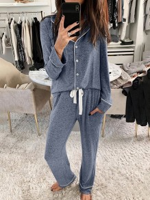 Blue Patchwork Buttons Turndown Collar Long Sleeve Fashion Loungewear Lounge Sets