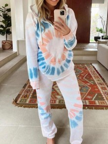 White Floral Print Hooded Long Sleeve Fashion Loungewear Lounge Sets