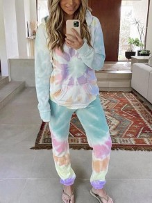 Blue Tie Dye Spiral Print Pockets Hooded Long Sleeve Fashion Long Loungewear Lounge Sets