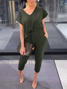 Army Green Drawstring Pockets High Waisted Fashion Long Lounge Sets