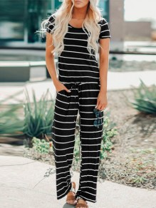 White Black Striped Drawstring Waist One Piece Elegant Lounge Jumpsuit