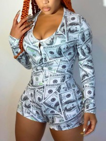 Grey Dollar Print Buttons V-neck Long Sleeve Casual Short Loungewear Lounge Jumpsuits