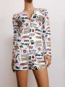 White Cartoon Pattern Single Breasted One Piece Pajama Loungewear Lounge Jumpsuit