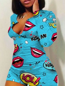 Sky Blue Lips Print Buttons Bodycon V-neck Long Sleeve High Waisted Short Loungewear Lounge Jumpsuits
