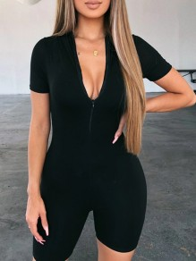 Black Patchwork Zipper Slim Round Neck Short Sleeve Fashion Loungewear Lounge Jumpsuits