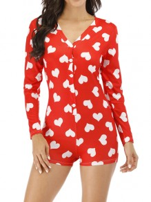 Red Love Print Buttons V-neck Casual Short Pajama Loungewear Lounge Jumpsuits