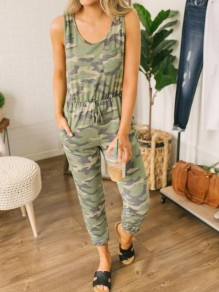 Army Green Camouflage Pattern Drawstring Pockets One Piece Pajama Loungewear Lounge Jumpsuit