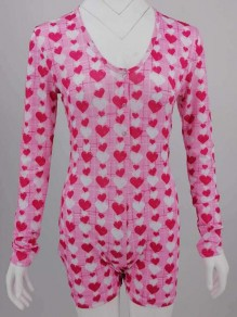 Pink Love Pattern Single Breasted Onesie Butt Flap Pajama Loungewear Lounge Jumpsuit