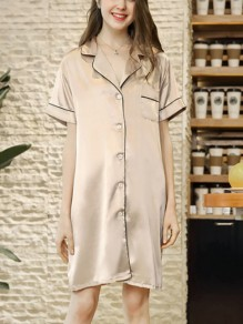 Champagner Patchwork Buttons Einteiliges Honey Girl Loungewear Lounge Kleid