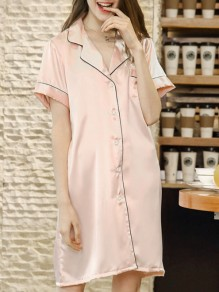 Robe boutons loungewear une pièce miel fille rose