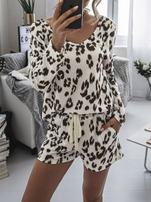 White Leopard Print Drawstring Pockets Two Piece High Waisted Short Sleepwear Pajama Sets
