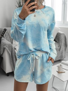 Blue-White Tie Dyeing Drawstring Pockets Two Piece High Waisted Short Sleepwear Pajama Sets