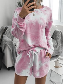 Pink-White Tie Dyeing Drawstring Pockets Two Piece High Waisted Short Sleepwear Pajama Sets