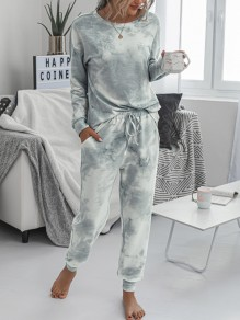 Grey-White Tie Dyeing Drawstring Pockets Two Piece High Waisted Long Sleepwear Pajama Sets