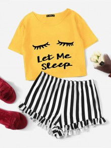 Yellow Striped Letter Round Neck Short Sleeve Shorts Pajama Sets
