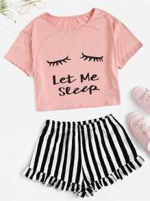 Pink Striped Letter Round Neck Short Sleeve Shorts Pajama Sets