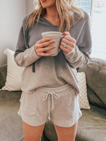 Grey Gradient Drawstring Pockets Two Piece Hooded Casual Short Sleepwear Pajama Set