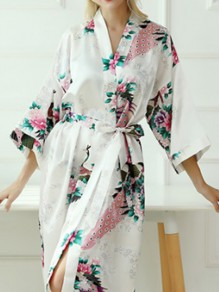 Multicolor Patchwork Print Robe Style Fashion Sleepwear Robe